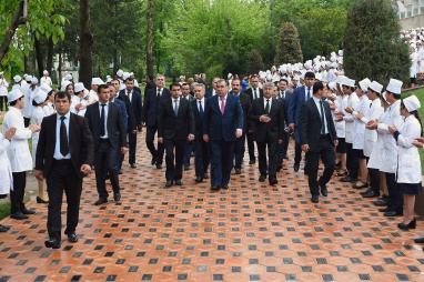 The Founder of Peace and National unity - Leader of the nation, President of Tajikistan his excellency Emomali Rahmon and mayor of Dushanbe Rustami Emomali visited the construction of the main ATSMU educational building
